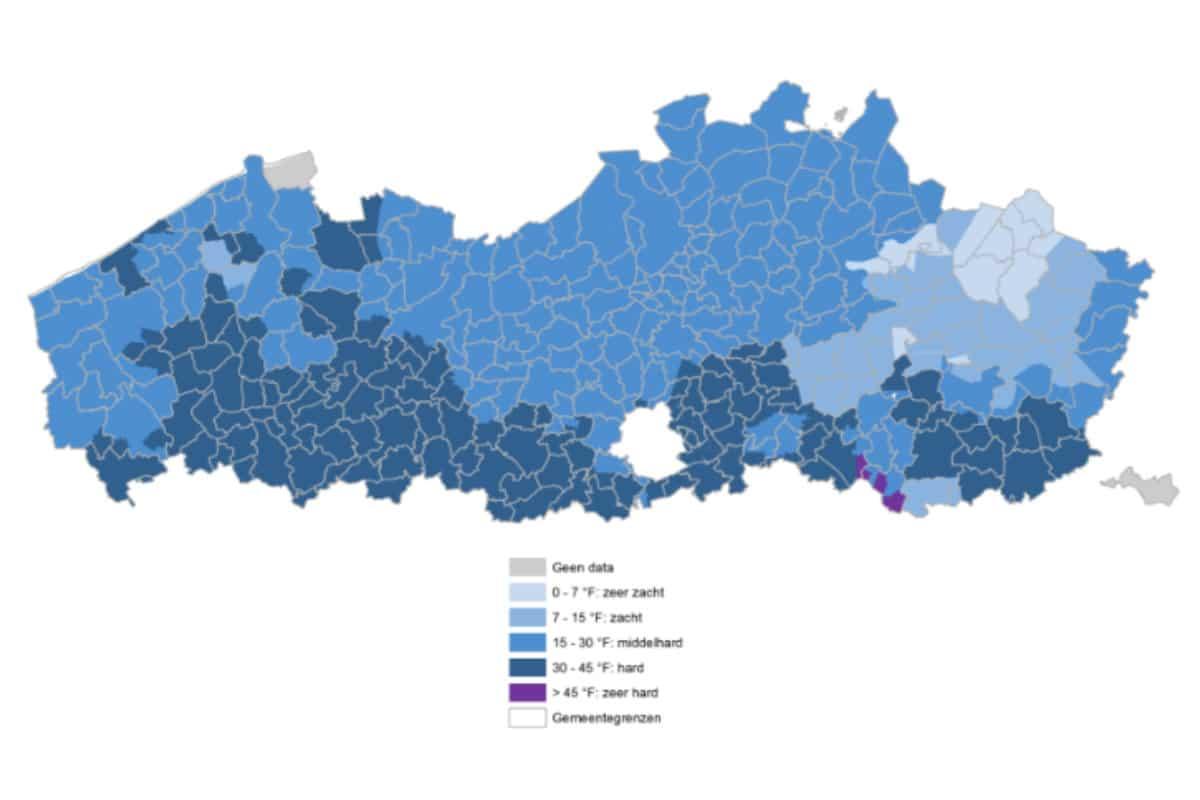 Waterhardheid per gemeente